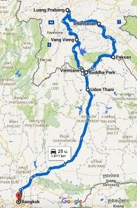 Route midden Laos en Bangkok