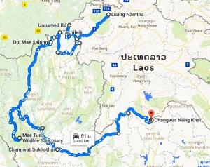 Route Noord Laos & Thailand